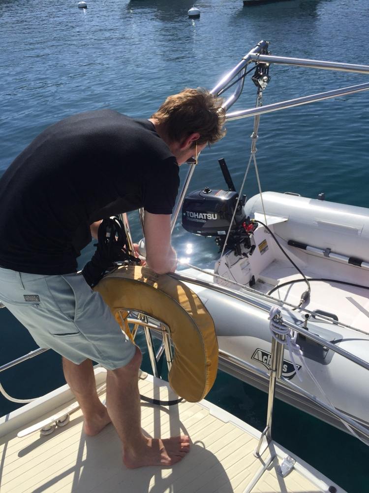 Setting up the new Achilles dinghy on Cerulean