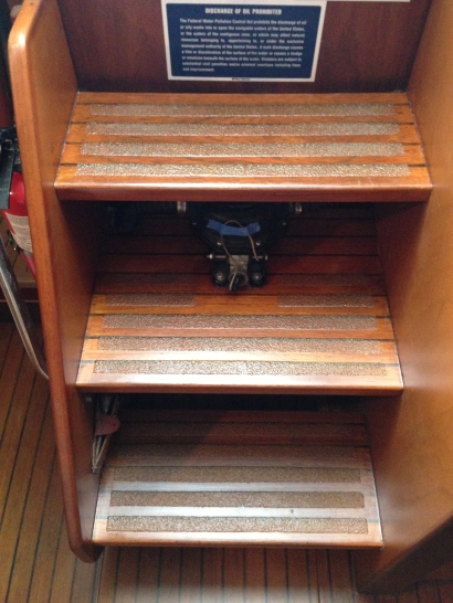 Companionway Stairs with 3 Parts Satin 1 Part Gloss = BEAUTIFUL