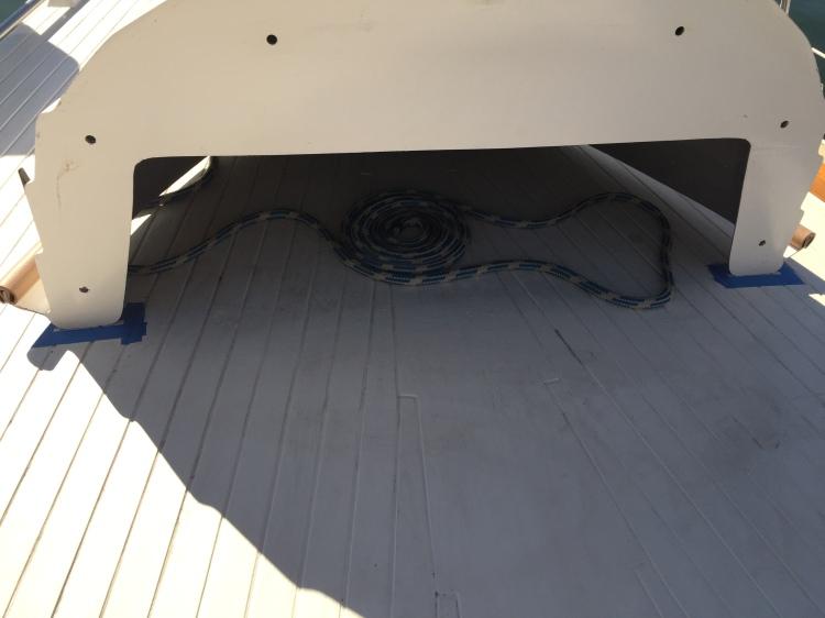 Nesting Dinghy on Maramu Aft Deck